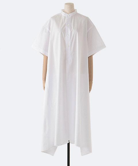 HYKE T/C GRANDAD-COLLAR HALF-SLV SHIRT DRESS