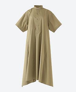 T/C GRANDAD-COLLAR HALF-SLV SHIRT DRESS