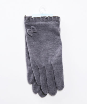 <joli comme un coeur/ジョリコムアンクール> フリルリボン手袋(タッチパネル対応) グレー<三越・伊勢丹/公式>