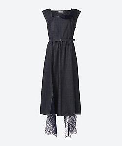 Denim lace slit dress