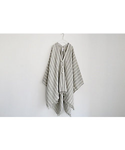 TOUJOURS/トゥジュー STRIPED SCOTCH TWEED CLOTH / Fringe Stole Poncho