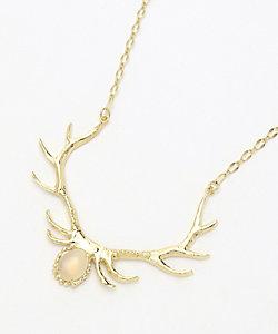 BAMBI×RUKUS 鹿の角ネックレス(ムーンストーン付き)