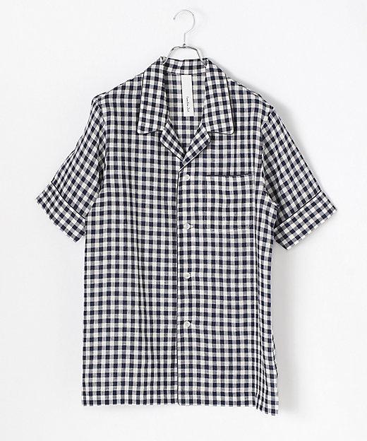 リネンギンガムチェック半袖パジャマ