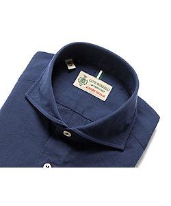 Luigi Borrelli(Men)/ルイジ ボレッリ 製品洗いコットンオックスフォード無地ホリゾンタルカラーシャツ「NA35(30140)」