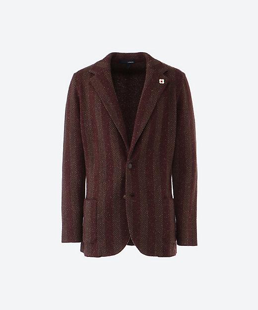 【50%OFF】ウールシルク ヘリンボーン ニットジャケット