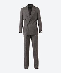 CARUSO(Men)/カルーゾ ヘリンボーン ダブル 4ボタン 1プリーツ スーツ