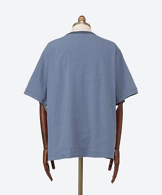 半袖Tシャツ LINEN STRIPE CREW NECK S/S SHIRTS 21SLS03