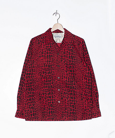 【送料無料】<ワコマリア/WACKO MARIA> 【送料無料】CROCODILE CORDUROY OPEN COLLAR SHIRT(18FW-WMS-OC01) RED 【三越・伊勢丹/公式】