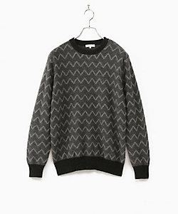 ALPHA(Men)/アルファー クルーネック柄カシミヤセーター