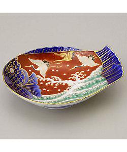 深川製磁/フカガワセイジ 染錦手波鶴紋 魚型皿 小