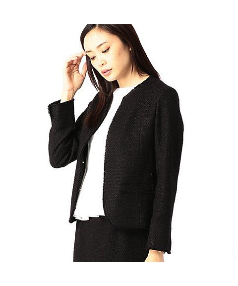 ノーカラーツィードジャケット(0182GF01) ブラック