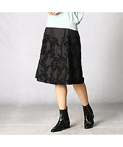 ARTISAN(Women)/アルチザン リーフ柄刺繍タフタ スカート(0802FT02)