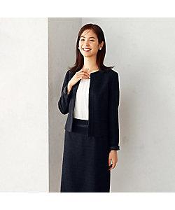 COMME CA ISM(Women)/コムサ イズム 【セットアップ対応】ラメツイード ノーカラージャケット(1207GR07)