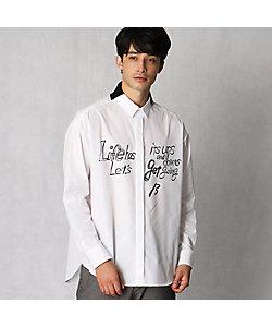 β MEN(Men)/ベータ・メン ニットカラーメッセージプリントシャツ(2706IR02)