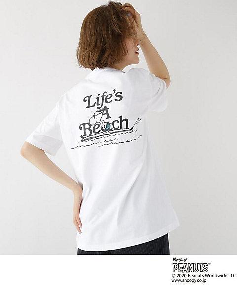 <BASE STATION (LADIES)/ベース ステーション> ピーナッツ PEANUTS 別注 スヌーピー サーフ バックプリント 半袖 Tシャツ(2001629359) シロ【三越・伊勢丹/公式】
