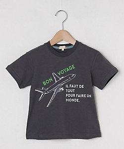 手描き飛行機プリントTシャツ(2001632751)