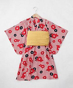 配色帯フラワー柄×ストライプ浴衣(2001633384)