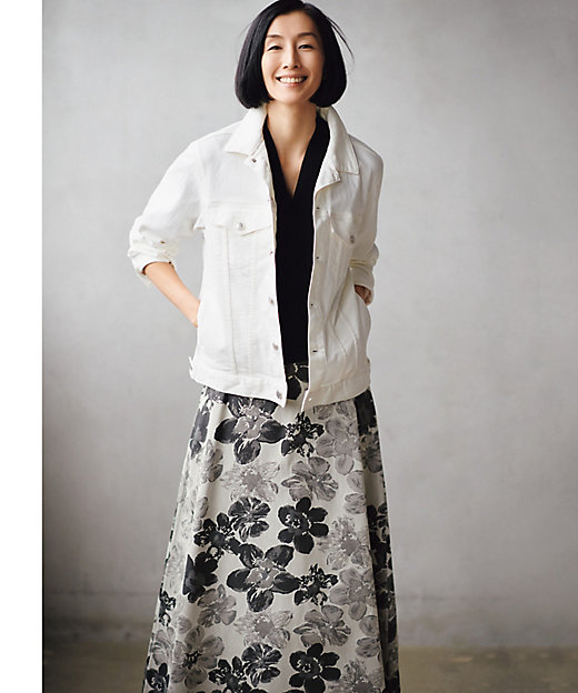 <自由区 L(Women)/ジユウクL> 大きいサイズ SAKURA ジャカード リバーシブルスカート(検索番号E42)(SKWRBM0312) グレー【三越伊勢丹/公式】