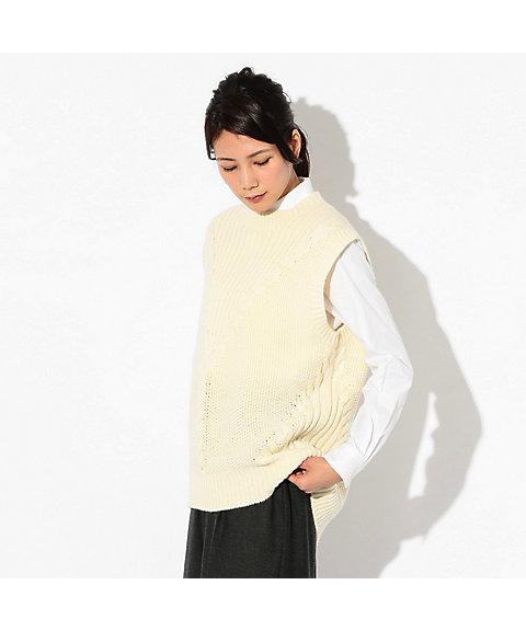 【SALE(伊勢丹)】 ケーブルニットベスト(H5N03621__) アイボリー