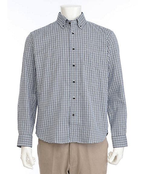 <OPUS>【紳士大きいサイズ】【シンプルライフ】カラーチェックジャカードBDシャツ(2319425203) 35ネイビー【三越・伊勢丹/公式】