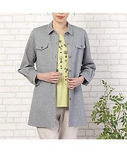 MISSEL/ミゼール 綿混ソフトニット ロングシャツ(21032121)