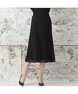 Liliane Burty(Women/大きいサイズ)/リリアン ビューティ リングチュール 無地フレアースカート(50045002)