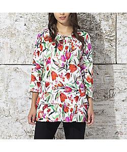 Liliane Burty(Women/大きいサイズ)/リリアン ビューティ イタリア製プリント 裾切り替えチュニック(50122121)
