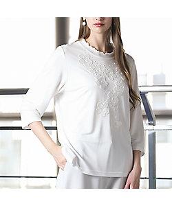 Liliane Burty(Women/大きいサイズ)/リリアン ビューティ 強撚スムース フラワー刺繍Tシャツ(50122151)