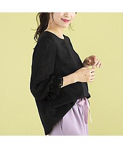 Rose Tiara(WOMEN/大きいサイズ)/ローズティアラ(大きいサイズ) レース切替袖ブラウス(51032101)