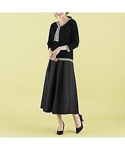 Rose Tiara(WOMEN/大きいサイズ)/ローズティアラ(大きいサイズ) マットタフタフレアスカート(51042102)