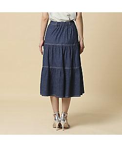 デニム切替スカート プラスサイズ
