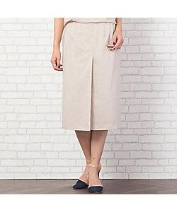 PISANO/ピサーノ リネン混ストレッチ・スリット風タックタイトスカート(56042101)