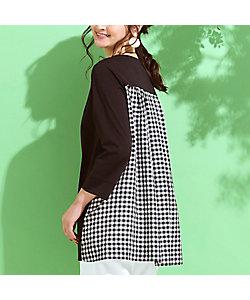 PISANO/ピサーノ プレミアムコットン・ギンガムチェックコンビTシャツ(56122105)