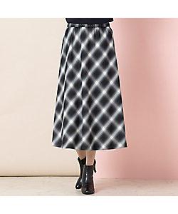 Fitme Moi(Women/大きいサイズ)/フィットミーモア バイヤスチェック・フレアスカート【ウエスト総ゴム】(57046011)