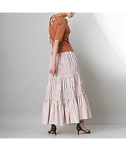 EUCLAID(Women)/エウクレイド ティアードギャザーロングスカート(88042003)