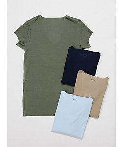 SEEK(Men)/シーク 年間素材/Uネックシャツ/ビズポロ用/汗ジミ防止/袖短め(EE2715)