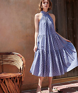 Estella.K/エステラケー Polka-dot tiered dress Blu.GRY