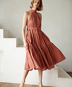 Estella.K/エステラケー Polka-dot tiered dress Terracotta
