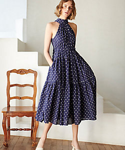 Estella.K/エステラケー Polka-dot tiered dress NVY