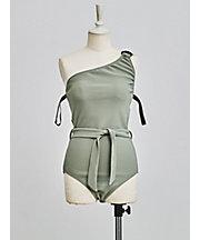 三越・伊勢丹/公式 <ロザリームーン/Rosary moon> One-Shoulder Swim Suit(19RS-9013) Khaki