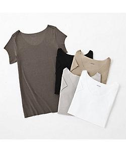 年間素材/ボートネックTシャツ/Tシャツ対応/汗ジミ防止(EE2812)