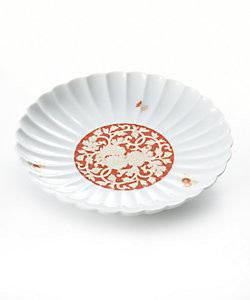 香蘭社/コウランシャ 赤濃菊唐草文 菊型盛り皿