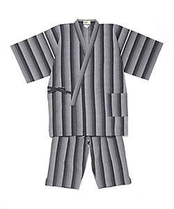長尾織布/ナガオオリフ 阿波しじら織 甚平 グラデーション黒