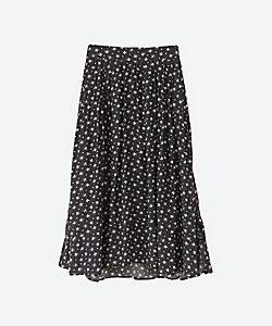モノトーンフラワー小花柄スカート プラスサイズ