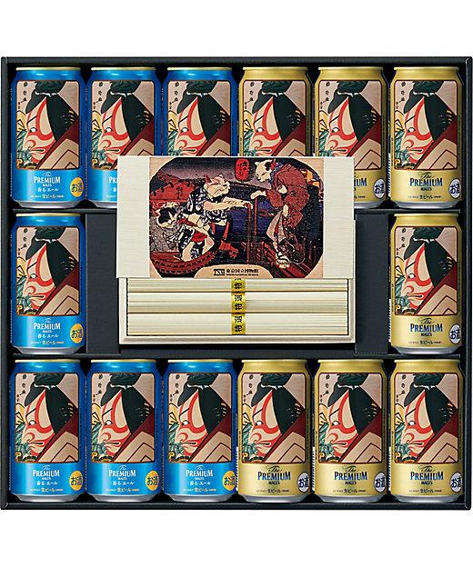 [お中元][送料無料]<サントリービール(サマーギフト)/サントリービール(サマーギフト)> 東京国立博物館 限定ギフト市川鰕蔵の暫(碓井荒太郎貞光)ザ・プレミアム・モルツ×島原素麺詰合せ[三越伊勢丹/公式]