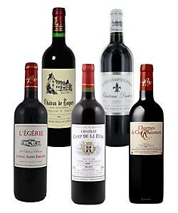 41.ボルドー優良年および飲み頃ヴィンテージ赤ワイン5本セット