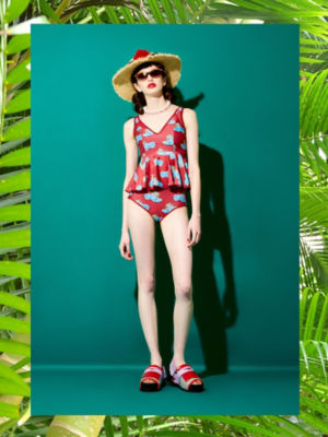 <PAMEO POSE/パメオポーズ>【予約発売】Silvia Two-piece Swim Dress Leopard(231813200801) RED<三越・伊勢丹/公式>