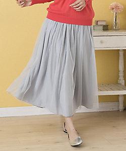 チュール×サテン2WAYリバーシブルスカート プラスサイズ