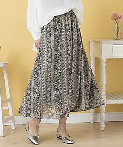 sab street my standard(Women/大きいサイズ)/サブストリート マイスタンダード パネルオリエンタルプリントスカート