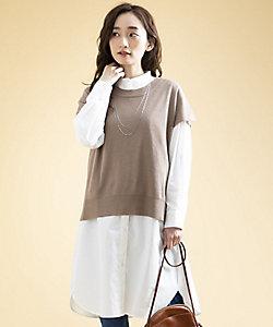 Rogique L(Women/大きいサイズ)/ロジーク エル CHARLI ニットベスト×シャツワンピースアンサンブル プラスサイズ